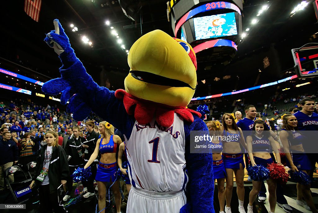 Big Jay, mascot for the Kansas Jayhawks, celebrates their 70-54 win over Kansas State Wildcats during the Final of the Big 12 basketball tournament at Sprint Center on March 16, 2013 in Kansas City, Missouri.