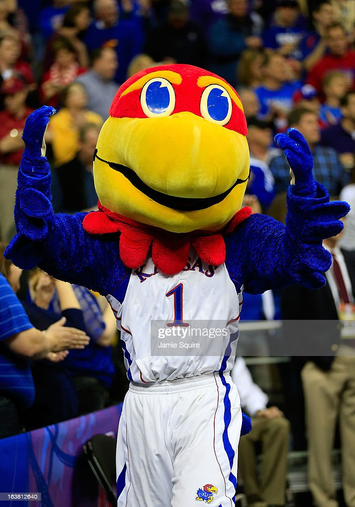 Big Jay, mascot for the Kansas Jayhawks, performs in the first half against the Kansas State Wildcats during the Final of the Big 12 basketball tournament at Sprint Center on March 16, 2013 in Kansas City, Missouri.