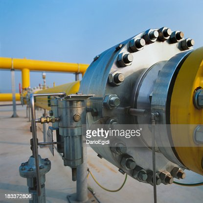 Big joint on yellow pipe in a gas distribution station