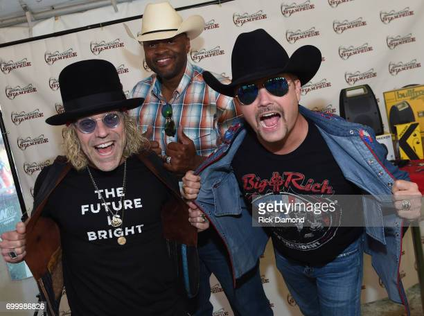 Big Kenny Cowboy Troy and John Rich of Big and Rich backstage during Kicker Country Stampede Day 1 at Tuttle Creek State Park on June 22 2017 in...