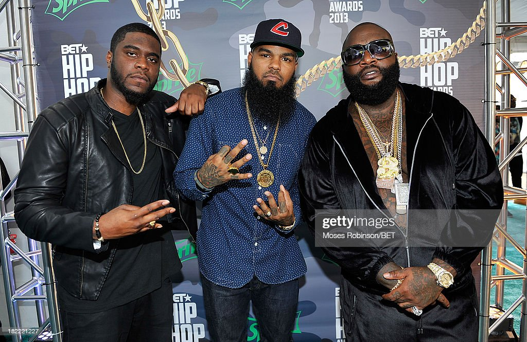 Big K.R.I.T., <a gi-track='captionPersonalityLinkClicked' href=/galleries/search?phrase=Stalley&family=editorial&specificpeople=5838307 ng-click='$event.stopPropagation()'>Stalley</a> and Rick Ross attend the BET Hip Hop Awards 2013 at Boisfeuillet Jones Atlanta Civic Center on September 28, 2013 in Atlanta, Georgia.