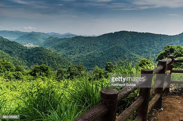 Big landscape with wood handrail in Khao yai , Tha
