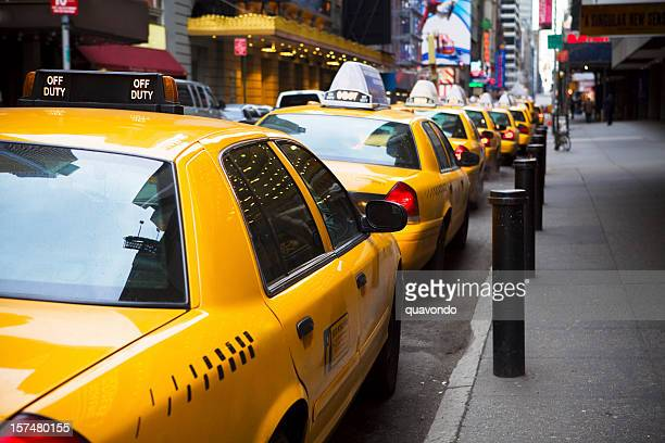 Big Line of Yellow Taxis in New York City
