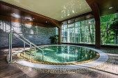 Big luxury jacuzzi thub in hotel spa green area