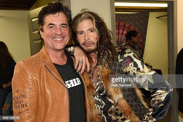 Big Machine Label Group President and CEO Scott Borchetta and Steven Tyler attend the Big Machine Label Group CRS Bash with Steven Tyler A Thousand...