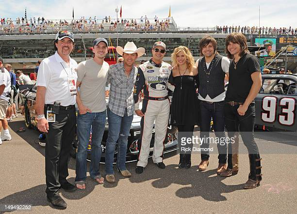 Big Machine Label Group President and CEO Scott Borchetta country music artists Greg Bates and Justin Moore David Gilliland driver of the Big Machine...