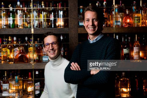 Big Mamma group's founders Victor Lugger and Tigrane Seydoux pose during a photo session in their restaurant Popolare on October 26 2017 in Paris...