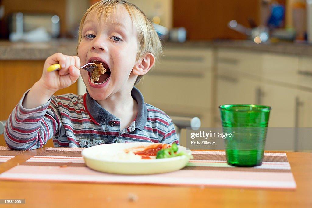 Big Meatball Bite : Stock Photo