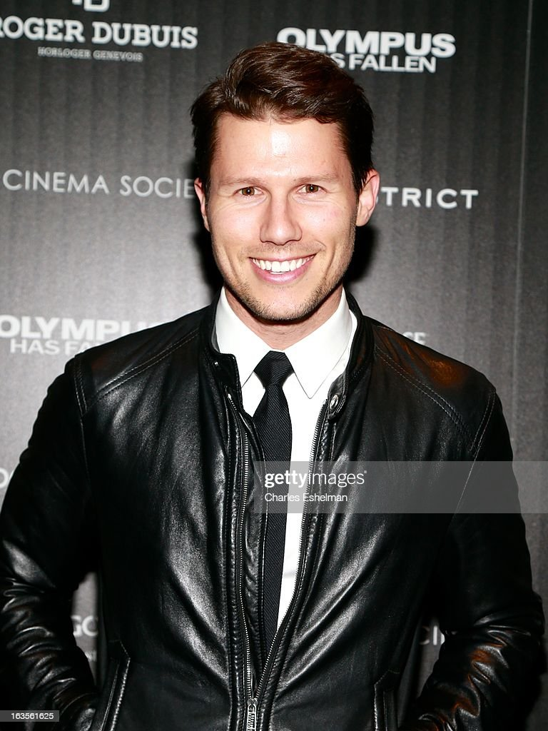 Big Morning Buzz Live co-host Jason Dundas attends The Cinema Society with Roger Dubuis and Grey Goose screening of FilmDistrict's 'Olympus Has Fallen' at the Tribeca Grand Screening Room on March 11, 2013 in New York City.