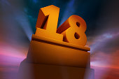 Golden number Eighteen as a Three Dimensional Rendering with spotlights and dramatic sky