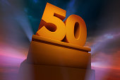 Golden number Fifty as a Three Dimensional Rendering with spotlights and dramatic sky