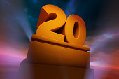 Golden number TwentyThree Dimensional Rendering with spotlights and dramatic sky