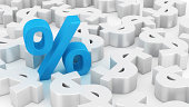 Single blue percent symbol among many dollars