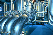Big pipeline in the abstract refinery. Computer graphic image. 3D rendering illustration.