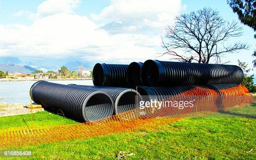 big plastic pipe : Stock Photo
