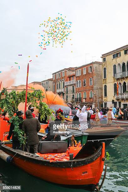 A big rat is exploded to officially open the Venice Carnival