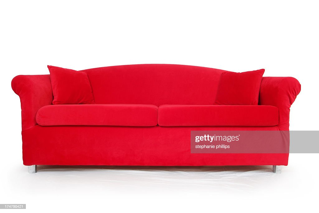 big red couch on a white background stock photo getty images. Black Bedroom Furniture Sets. Home Design Ideas