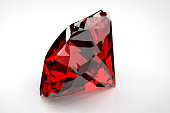 Big red diamond isolated on white background. 3D illustration