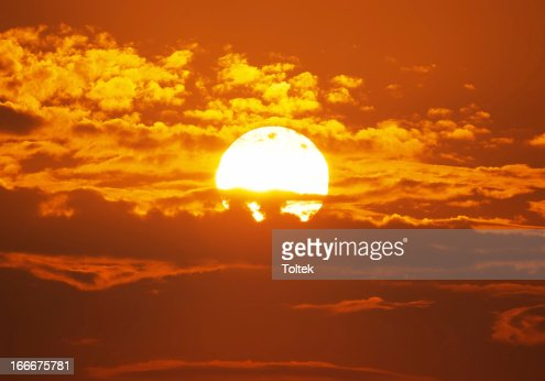 Big red sun : Stock Photo