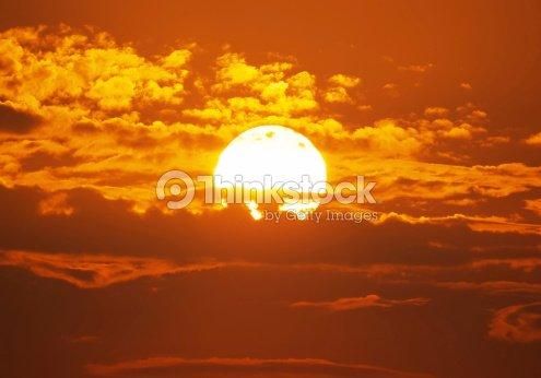 Big red sun : Stock Photo