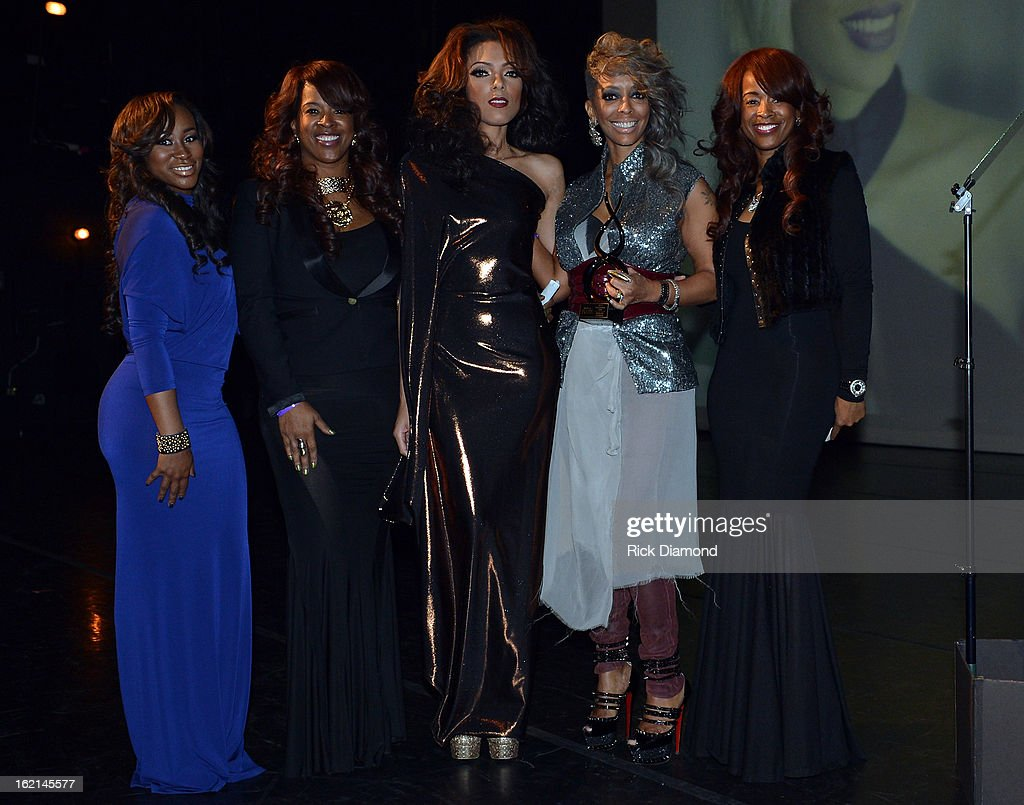 Big Rich Atlanta cast members Kahdijiha Rowe, Sharlinda Parker, BB Show Girl, ICON Shirley Gordon and BRA cast member Sabrina Rowe attend the 2013 Bronner Bros. ICON Awards Presented By Clariol - Show on February 18, 2013 in Atlanta, Georgia. United States.