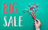 Big sale banner template design with colorful confetti streamer.celebration and festive concepts ideas