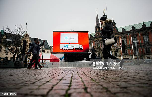 A big screen is placed at Malmo's main square where the Champions League match between Malmo FF and Paris SaintGermain will be live broadcast on...