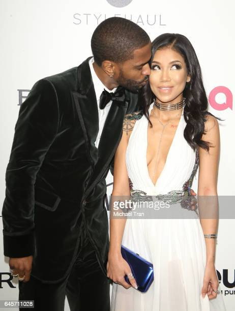 Big Sean and Jhene Aiko arrive at the 25th Annual Elton John AIDS Foundation's Oscar viewing party held at The City of West Hollywood Park on...