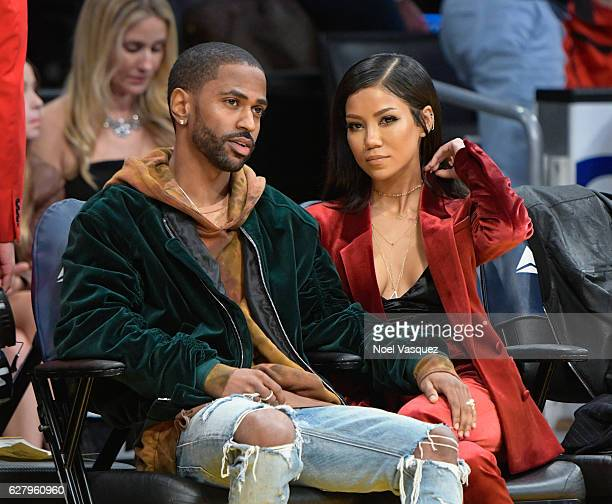 Big Sean and Jhene Aiko attend a basketball game between Utah Jazz and the Los Angeles Lakers at Staples Center on December 5 2016 in Los Angeles...