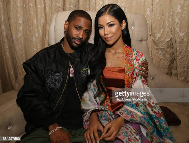 Big Sean and Jhene Aiko pose for a picture backstage at The MacArthur on February 9 2017 in Los Angeles California