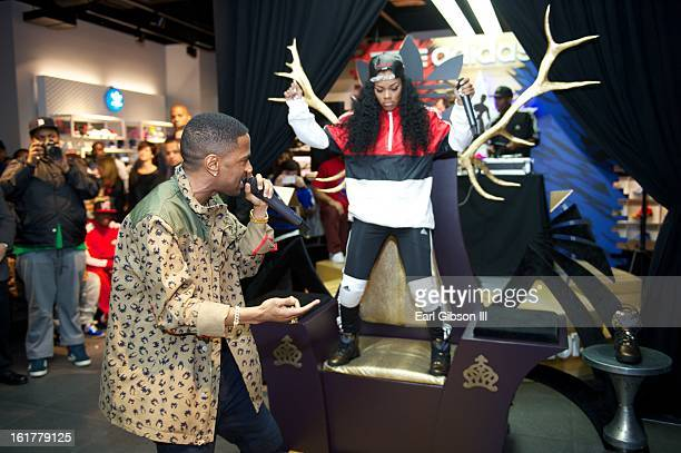 Big Sean and Teyana Taylor perform at the Adidas Store in the Galleria Mall on February 15 2013 in Houston Texas