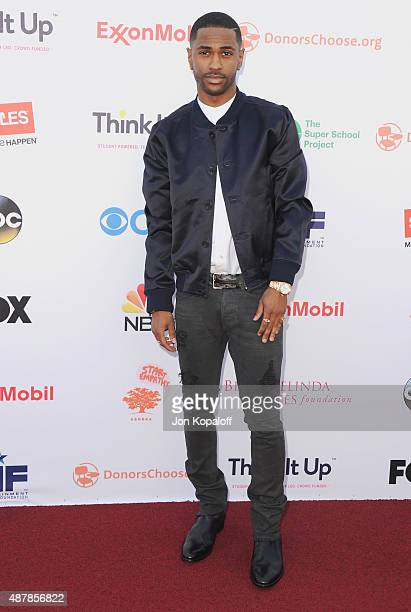 Big Sean arrives at the Entertainment Industry Foundation Hosts StarStudded Telecast For Teachers And Students at Barker Hangar on September 11 2015...