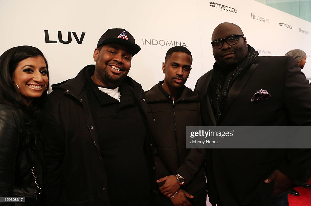 <a gi-track='captionPersonalityLinkClicked' href=/galleries/search?phrase=Big+Sean&family=editorial&specificpeople=4449582 ng-click='$event.stopPropagation()'>Big Sean</a> (2nd R), <a gi-track='captionPersonalityLinkClicked' href=/galleries/search?phrase=Sean+Banks&family=editorial&specificpeople=757309 ng-click='$event.stopPropagation()'>Sean Banks</a> (R), and guests attend the Los Angeles premiere screening of 'LUV' at Pacific Design Center on January 10, 2013 in West Hollywood, California.