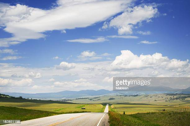 Big Sky, Montana road in summer