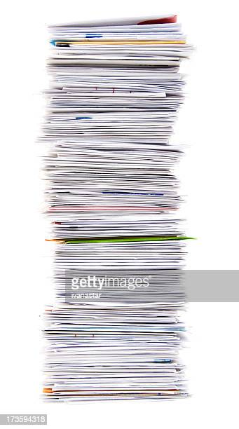 Big Stack of Unpaid Bills and Envelopes Isolated on White