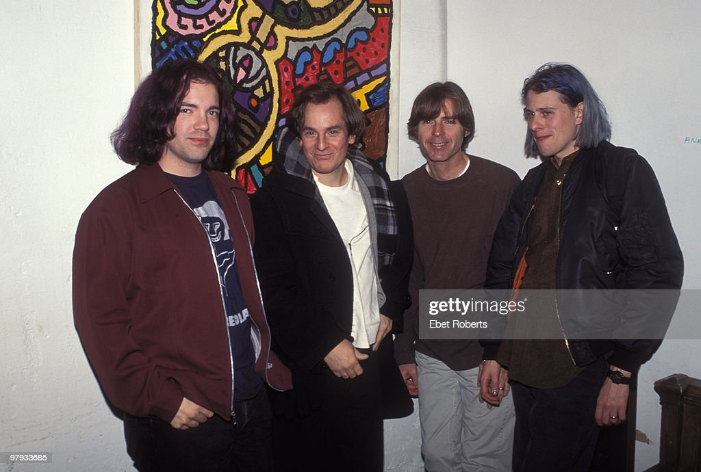 Big Star posed backstage at Tramps in New York City on November 08 1995 L-R Jon Auer (The Posies), <a gi-track='captionPersonalityLinkClicked' href=/galleries/search?phrase=Alex+Chilton&family=editorial&specificpeople=1674278 ng-click='$event.stopPropagation()'>Alex Chilton</a>, Jody Stephens, Ken Stringfellow