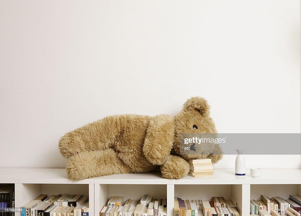 Big teddy bear lying on bookcase