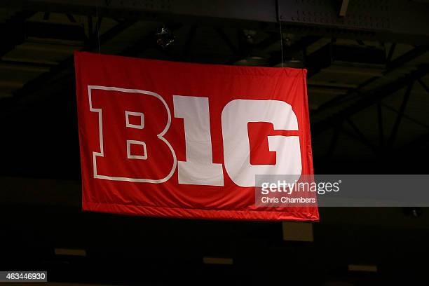 Big Ten banner logo is seen hung from the rafters of the Louis Brown Athletic Center as the Ohio State Buckeyes play against the Rutgers Scarlet...