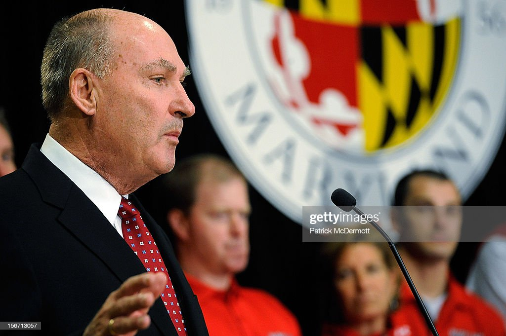 Big Ten Commissioner James E. Delany speaks after University of Maryland President Wallace D. Loh announced Maryland's decision to join the Big Ten Conference during a press conference on November 19, 2012 in College Park, Maryland.