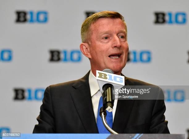 Big Ten Coordinator of Football Officials Bill Carollo on the podium addressing the media during the Big Ten Media Days on July 25 2017 at Hyatt...