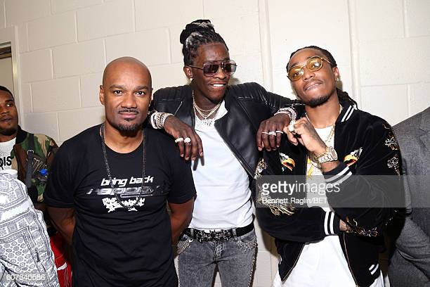 Big Tigger Young Thug and Quavo pose backstage during the 2016 BET Hip Hop Awards at Cobb Energy Performing Arts Center on September 17 2016 in...