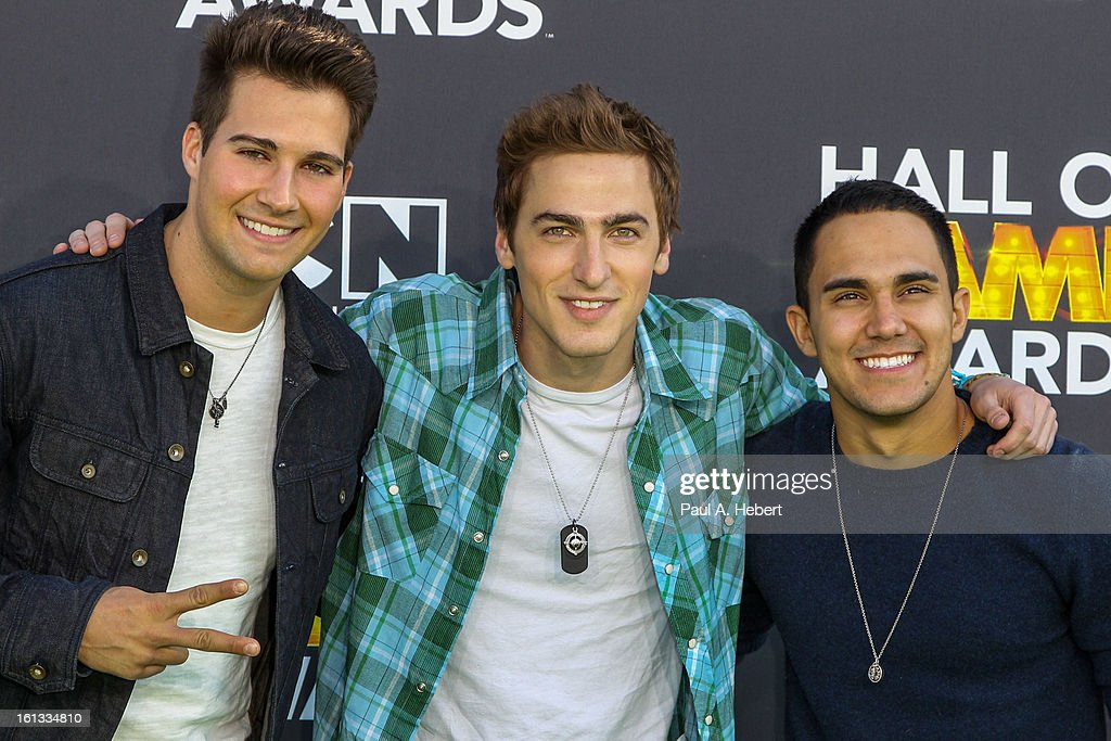 <a gi-track='captionPersonalityLinkClicked' href=/galleries/search?phrase=Big+Time+Rush&family=editorial&specificpeople=6524298 ng-click='$event.stopPropagation()'>Big Time Rush</a> arrives at the 3rd Annual Cartoon Network's 'Hall Of Game' Awards held at Barker Hangar on February 9, 2013 in Santa Monica, California.