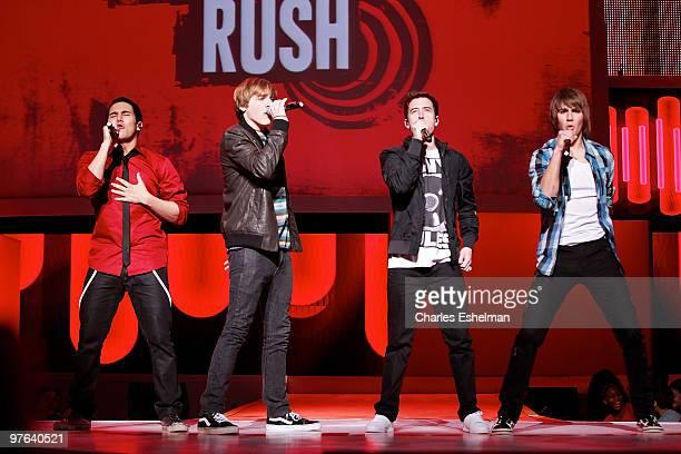 'Big Time Rush' stars Carlos Pena Kendall Schmidt Logan Henderson and James Maslow perform at the 2010 Nickelodeon Upfront Presentation at...