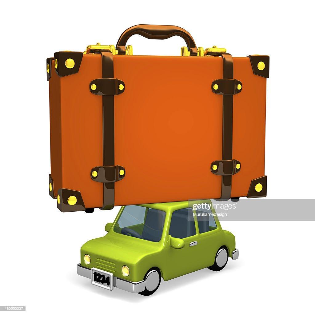 Big viaje en automóvil de equipaje : Foto de stock