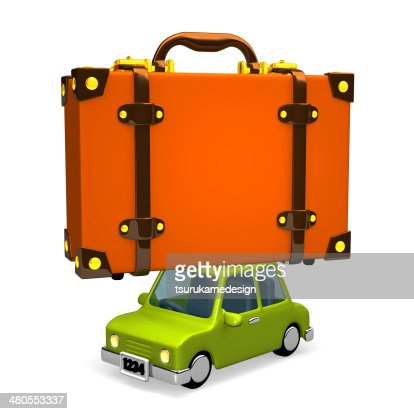 Big Travel Luggage On Car : Stock Photo