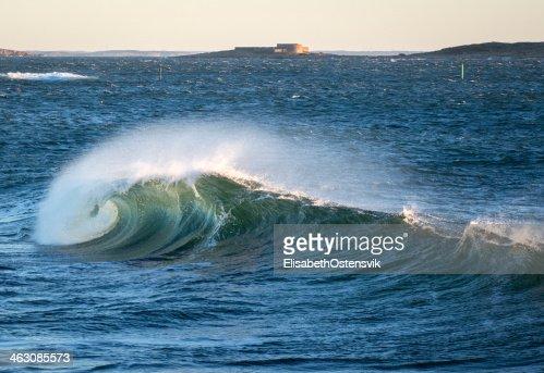 Big wave near Akerøya, Hvaler Islands, Norway : Stock Photo