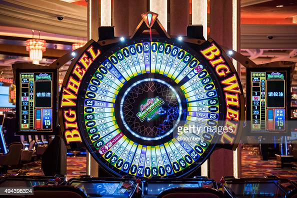 A Big Wheel gaming machine stands in the casino at the Studio City casino resort developed by Melco Crown Entertainment Ltd ahead of the grand...