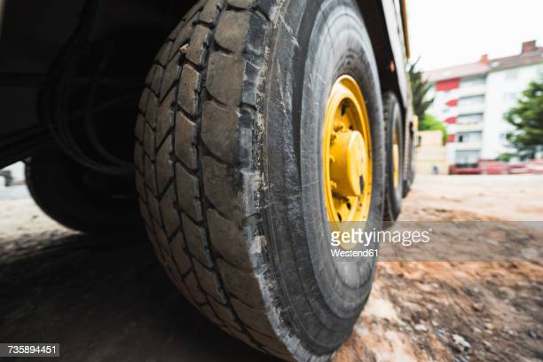 Big wheels of a lorry on a construction site