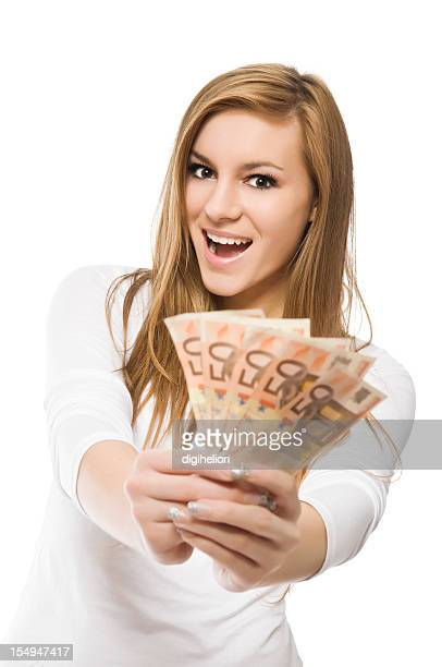 Big Winner - excited smiling girl with money
