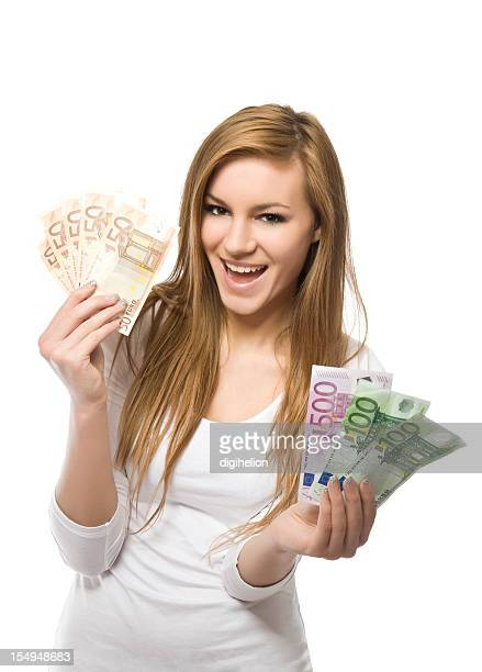 Big Winner - happy smiling girl with money